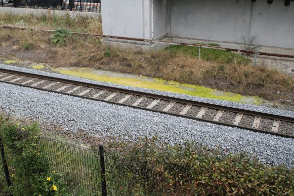 New ballast on the standard gauge at Sunshine, but the trackside drainage is still clogged