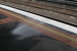 Three weeks later: water still leaking from the platform at Ascot Vale