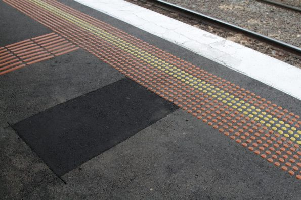 Repaired section of platform at Ascot Vale after a water main burst