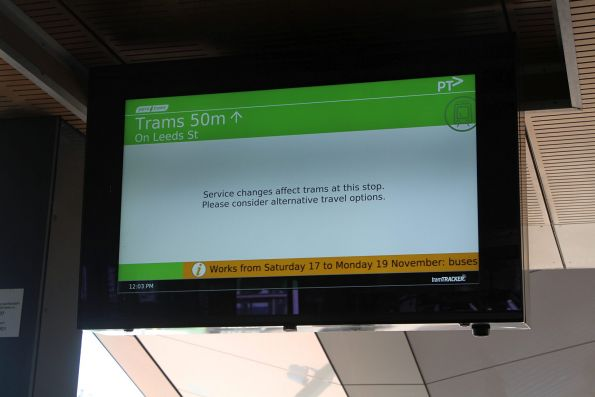 'Service changes affect this stop' on the TramTracker PIDS at Footscray station