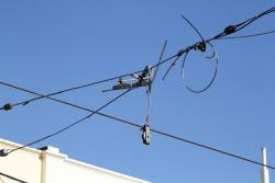New overhead wire yet to be permanently suspended on Union Road in Ascot Vale