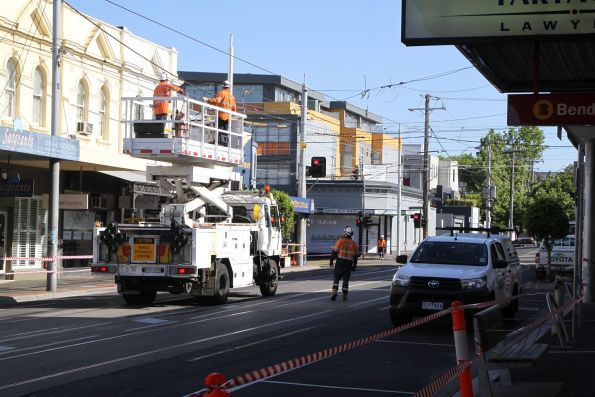 Ascot Vale tramway overhead works