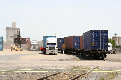 QR National container wagons in the yard at Horsham