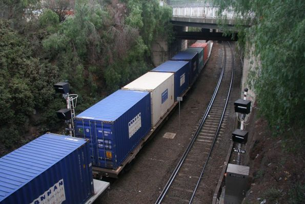 Freight train passes through the cutting outside the Bunbury Street tunnel at Footscray