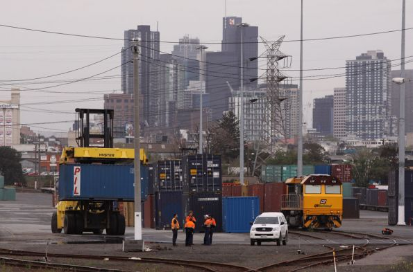 LDP008 waits around while the train is loaded at North Dynon