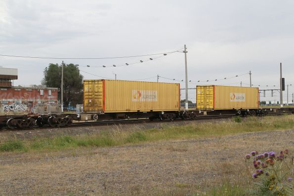 Two of the five containers on the final BM7 service into Melbourne