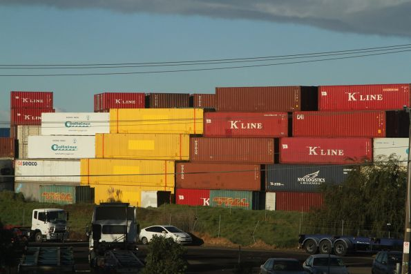40 foot containers with the 'Aurizon' branding painted over