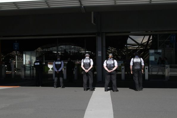Authorised Officers checking tickets outside the suburban exit at Southern Cross Station