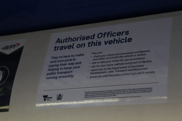 Updated 'Authorised Officers travel on this vehicle' sticker following the January 2017 rule changes