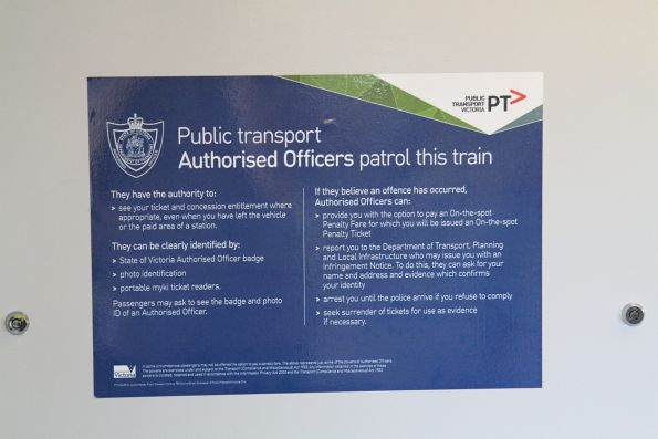 2014 edition 'Public transport Authorised Officers patrol this train' notice