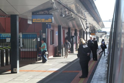 Authorised officers at Footscray platform 1