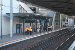 Authorised officers on crowd control duties at North Melbourne platform 1