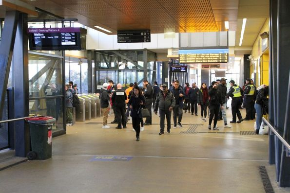 Authorised Officers and Victoria Police in attendance at Sunshine station
