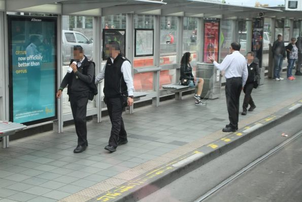 Yarra Trams Authorised Officers at the Federation Square tram stop