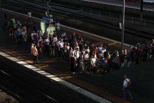 Authorised Officers on crowd control at Southern Cross platform 10