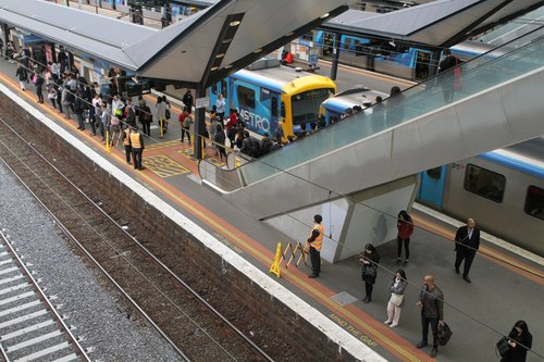 Authorised offices on crowd control duties at North Melbourne platform 5
