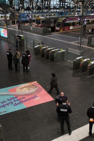 Authorised Officers checking tickets at the V/Line end of Southern Cross Station