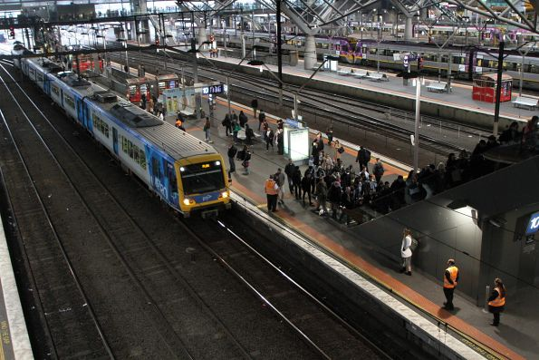 Authorised officers on crowd control duties at Southern Cross platform 10