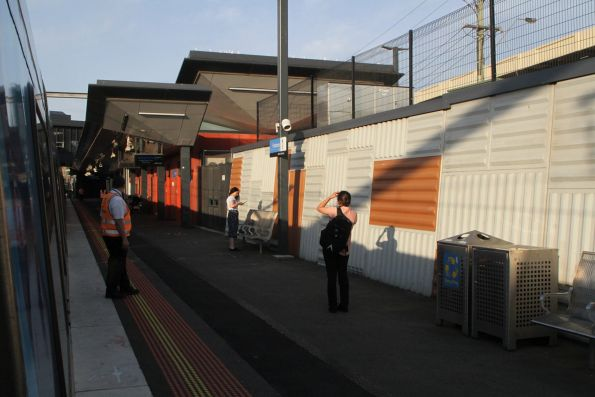 Authorised Officers on crowd control duties at Footscray platform 1
