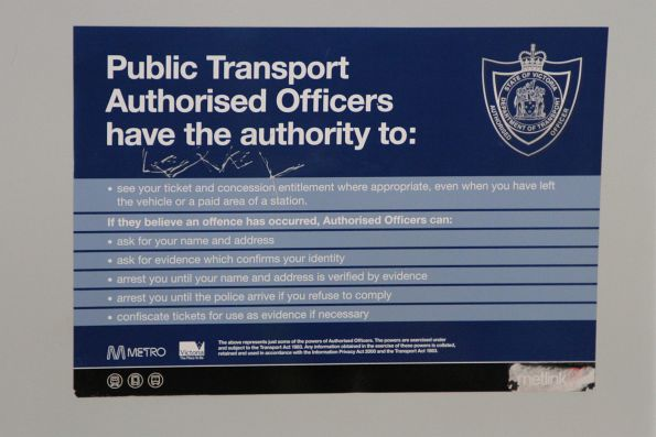 Metlink-era 'Authorised Officers have the authority to' signage onboard a train