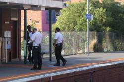 Authorised officers wait for the next train at Brunswick