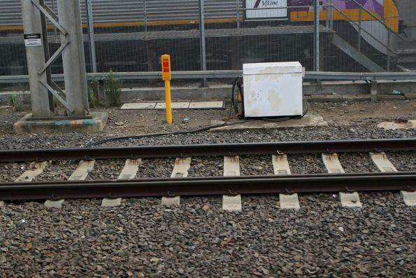 Automatic rail lubricators on the RRL tracks at Southern Cross