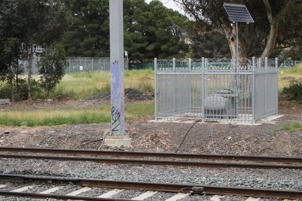 Lincoln automatic rail lubricator on the suburban tracks at Roxburgh Park