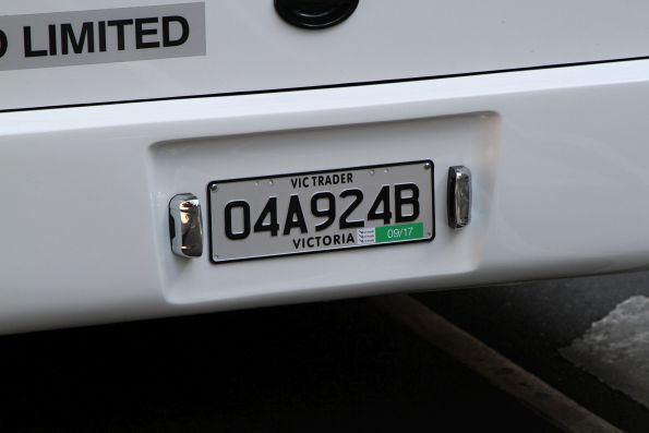 Trade plate fitted to an Avass Matilda Gen II electric city bus
