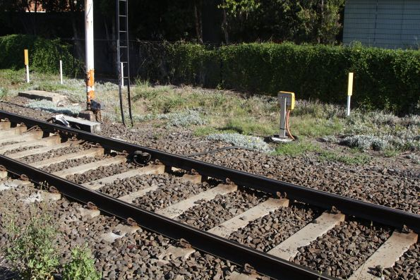 Axle counters on test on the up approach to the Poath Road level crossing