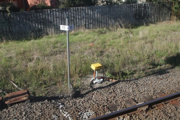Axle counters on test on the down approach to the Poath Road level crossing
