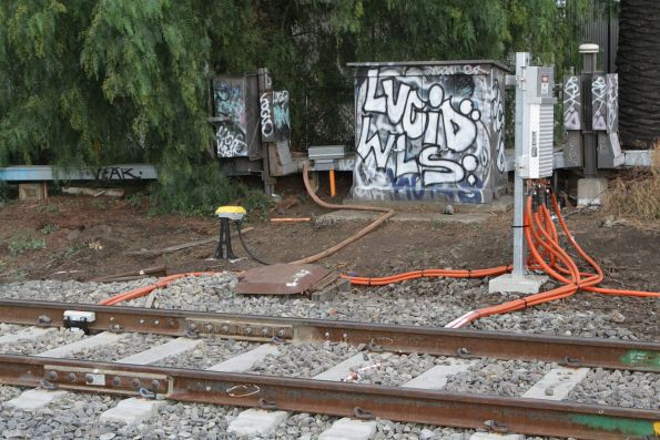 Frauscher axle counter installed at the citybound approach side of the Hudsons Road level crossing at Spotswood