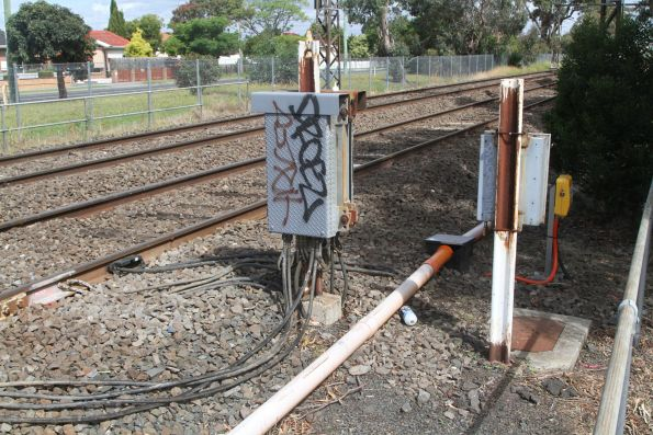 Axle counter on the approach to the Clayton Road level crossing