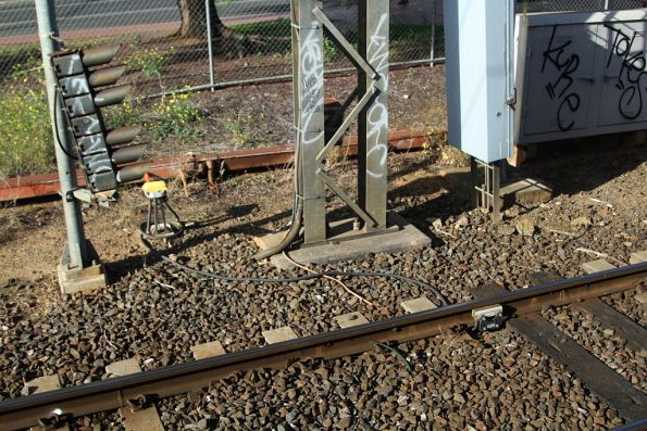 Axle counters for up trains approaching the Cherry Street level crossing in Werribee