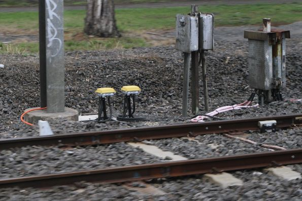 Axle counters on the approach to the Cherry Street level crossing in Werribee