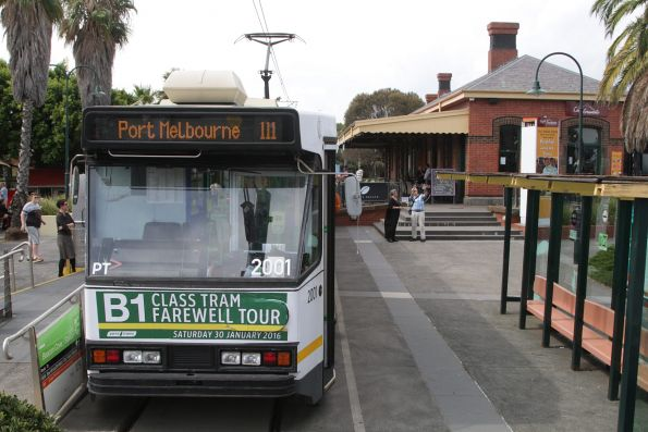 'Route 111' displayed by B1.2001 at the Port Melbourne terminus