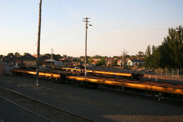 Empty flat wagons stabled in the Ballarat goods yard