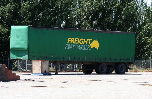 Freight Australia liveried curtainsider trailer at the Ballarat goods yard