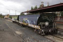 Pair of grain hoppers stabled in the dock platform at Ballarat
