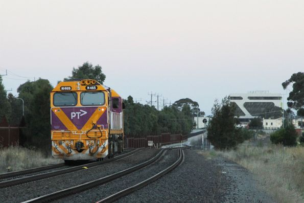 N465 heads light engine towards Sunshine after a day of driver training at Ballarat