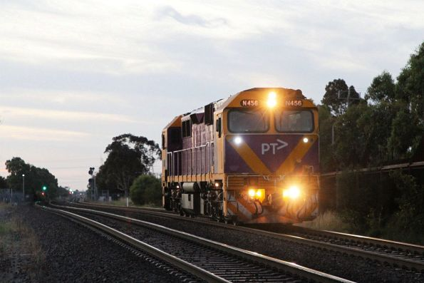 N456 heads light engine towards Sunshine after a day of driver training at Ballarat