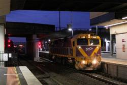 N466 heads light engine through Sunshine station after a day of driver training at Ballarat