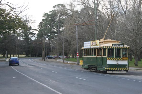 Tram 33 heads through the passing loop