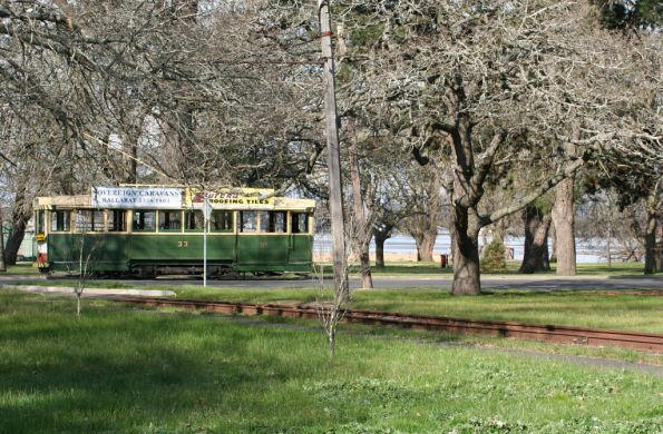 Tram 33 passes the depot lead, Lake Wendouree in the background
