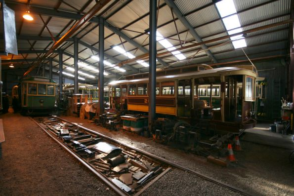 Tram 26 and scrubber car 8 in the workshops
