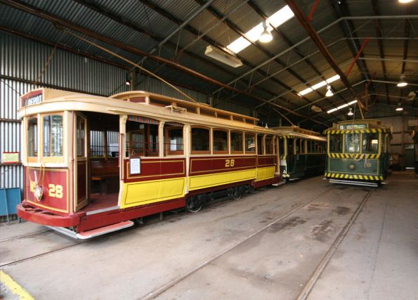 Tram 28 and 18 in the depot