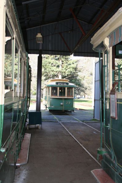 Tram 27 from inside the depot