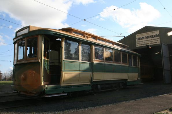 Tram 27 sits on the depot fan
