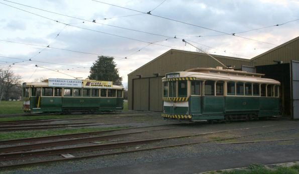 Trams 13 and 33 outside the depot