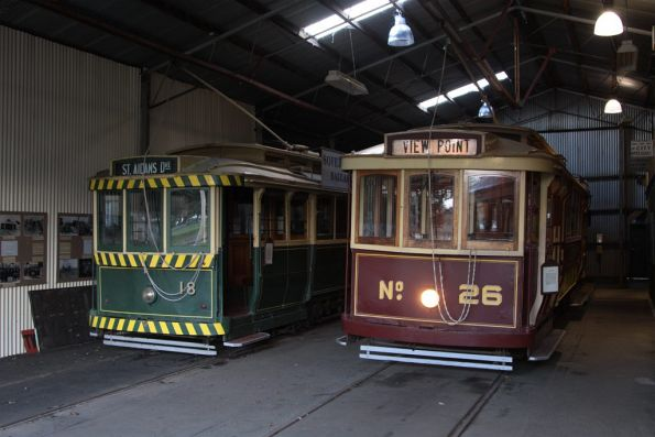 Trams 18 and 26 stabled in roads two and three