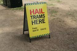 'Hail Trams Here' sign on Wendouree Parade